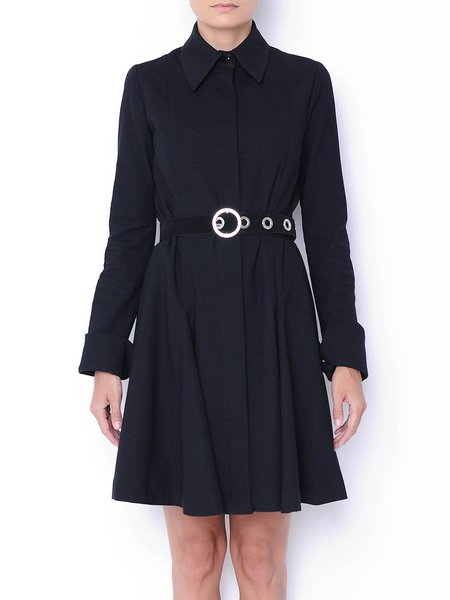 Black Wool Blend Casual Mini Dress