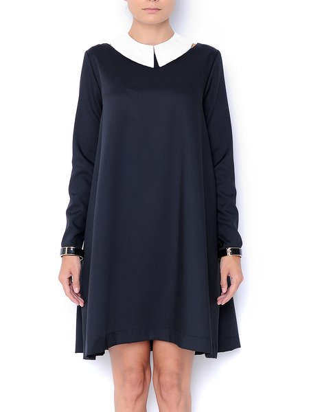 Shift Wool Blend Hand Made Mini Dress With A Removable Collar