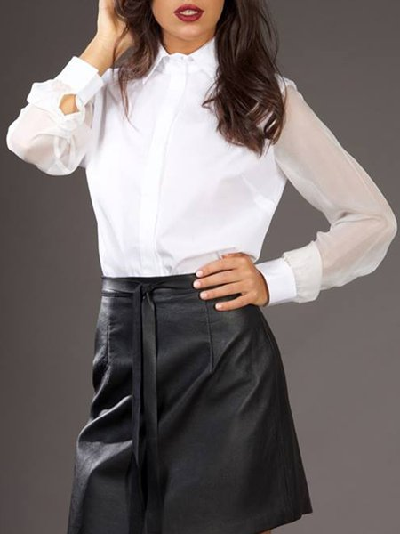 White Cotton Casual Blouse With Silk Sleeves