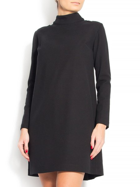 Black Hand Made Plain Casual Wool Blend Mini Dress