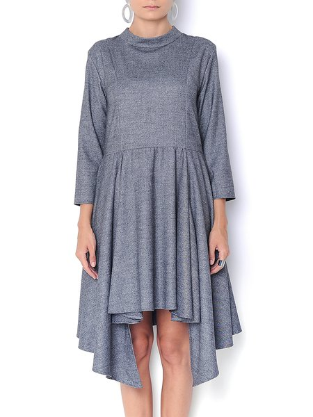 Deep Gray Wool Blend Asymmetric Stand Collar Midi Dress