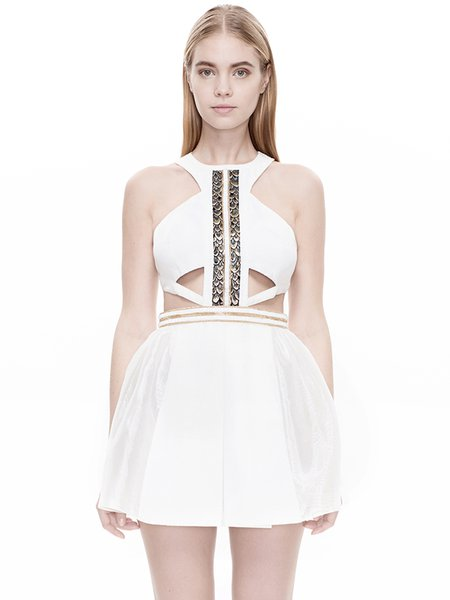 White Cutout Chain-trimmed Skater Mini Dress