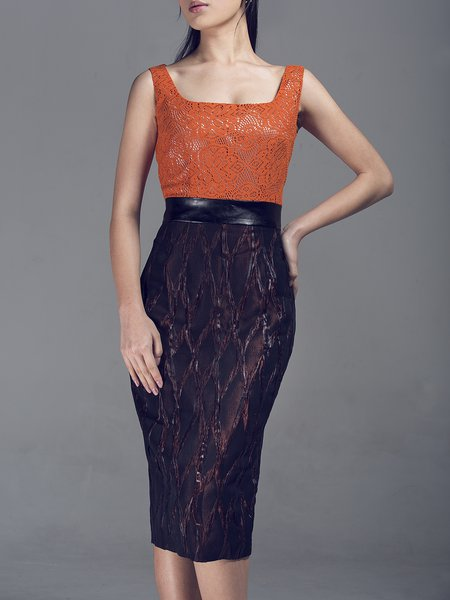 Orange Paneled Lace Sleeveless Square Neck Midi Dress