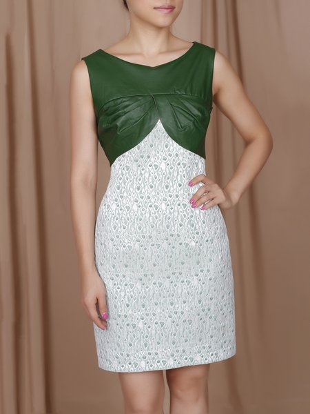 Green Paneled Elegant Sleeveless Mini Dress