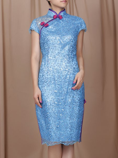 Blue Stand Collar Slit Vintage Midi Dress