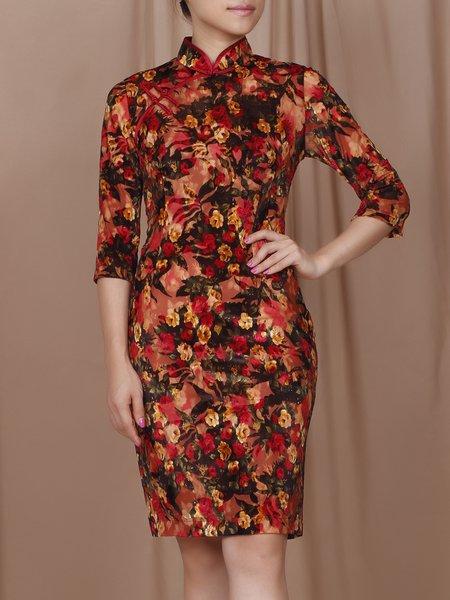 Orange 3/4 Sleeve Floral-print Vintage Midi Dress