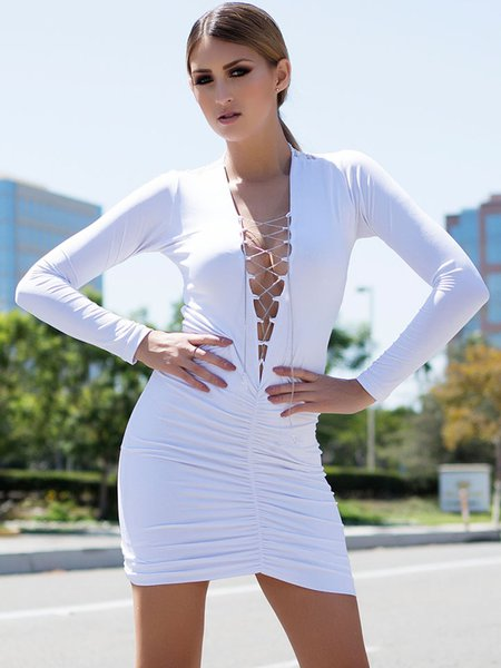 White Plunging Neck Lace up Long Sleeve Mini Dress