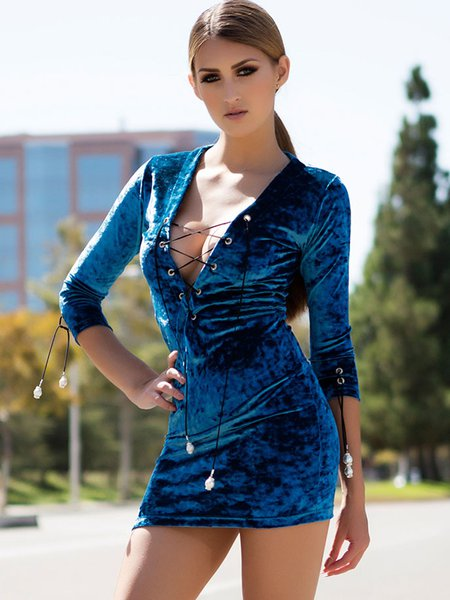 Blue Lace Up Plain Sexy Bodycon Mini Dress