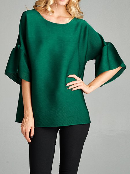 Green Pleated Frill Sleeve Crew Neck Blouse
