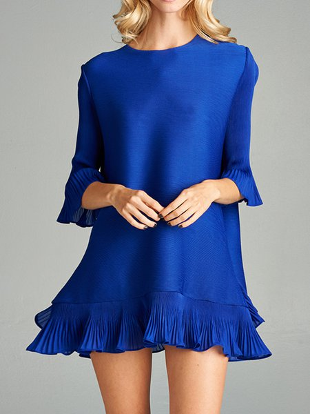 Solid Frill Sleeve Polyester Casual A-line Mini Dress