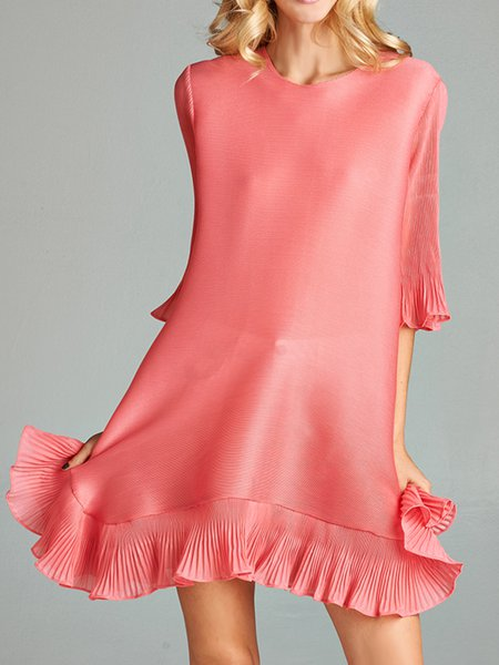 Pink Polyester Ruffled Casual Mini Dress