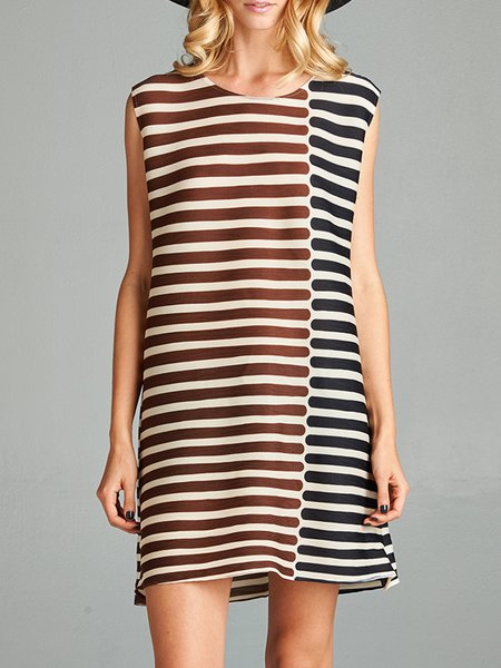Pleated Crew Neck Sleeveless Casual Stripes Mini Dress