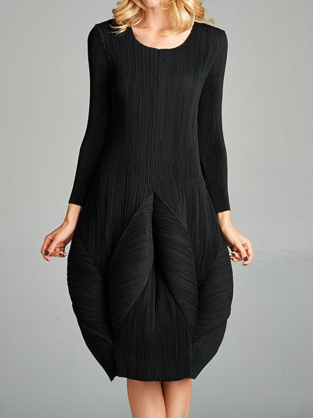 Casual Solid Crew Neck Cocoon Long Sleeve Midi Dress