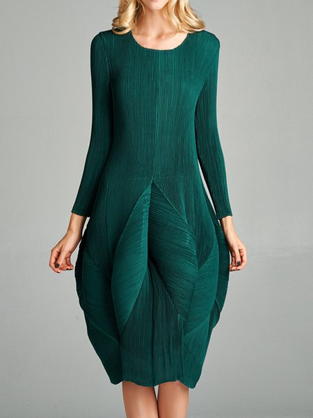 Dark Green Crew Neck Pleated Cocoon Long Sleeve Midi Dress