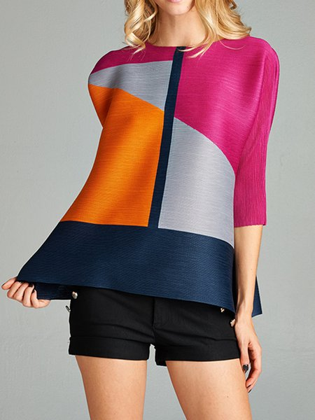 3/4 Sleeve Crew Neck Casual Geometric H-line Tunic