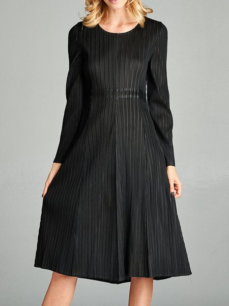 Black Pleated A-line Casual Crew Neck Midi Dress