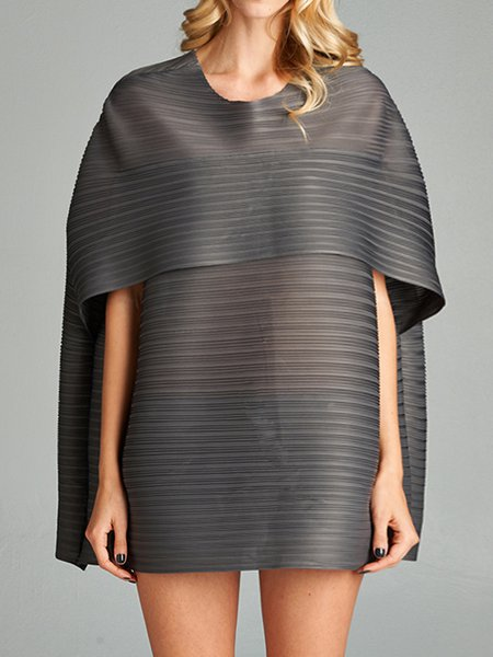 Gray Polyester Casual Mini Dress