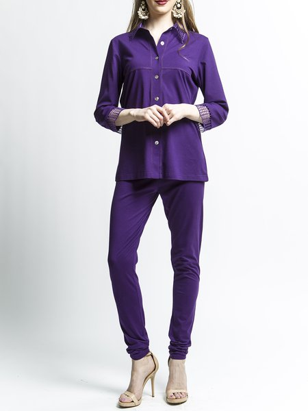 Purple Cotton Shirt Collar Two Piece Elegant Plus Size Pants Set