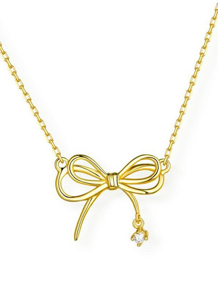 Golden Bowknot Zircon 925 Sterling Silver Necklace