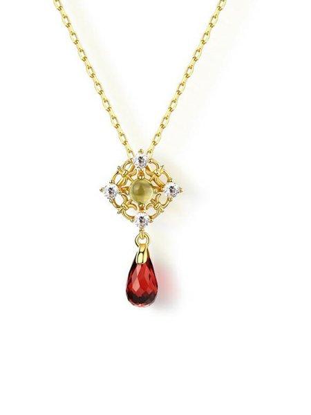 Golden Drop 925 Sterling Silver Garnet Necklace
