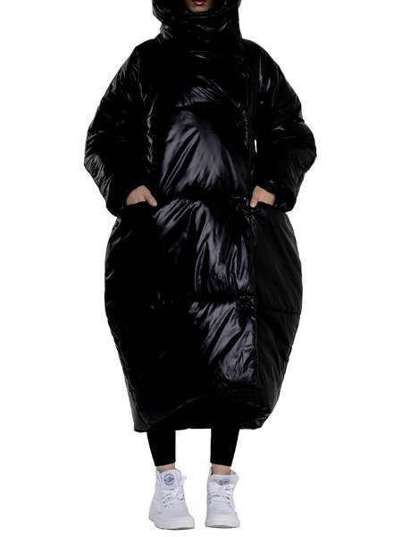 Black Casual Cocoon Solid Down Coat With Pockets