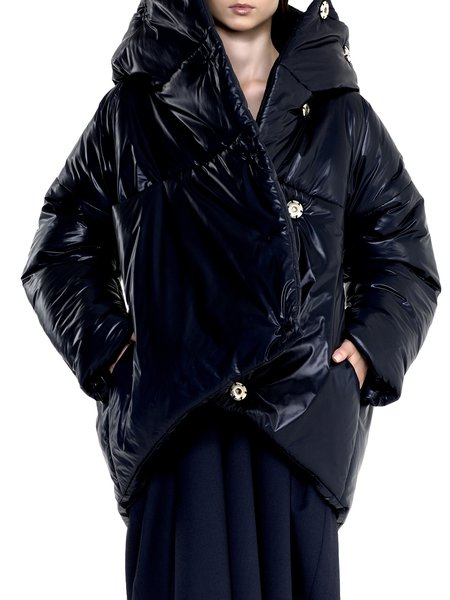 Asymmetric Long Sleeve Hoodie Down Coat With Pockets