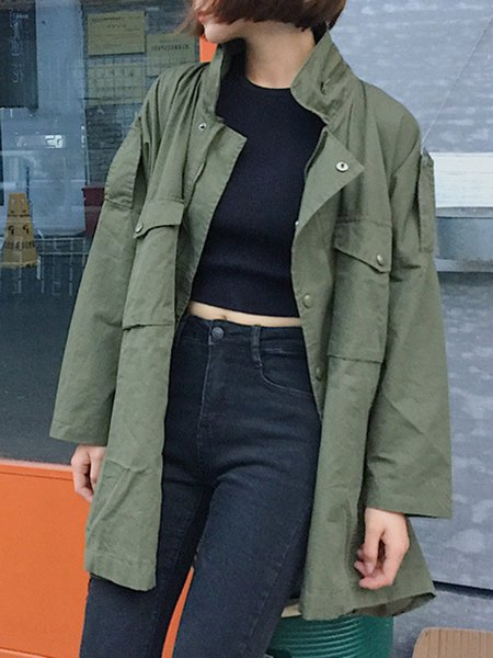 Batwing Shirt Collar Shift Solid Casual Trench Coat