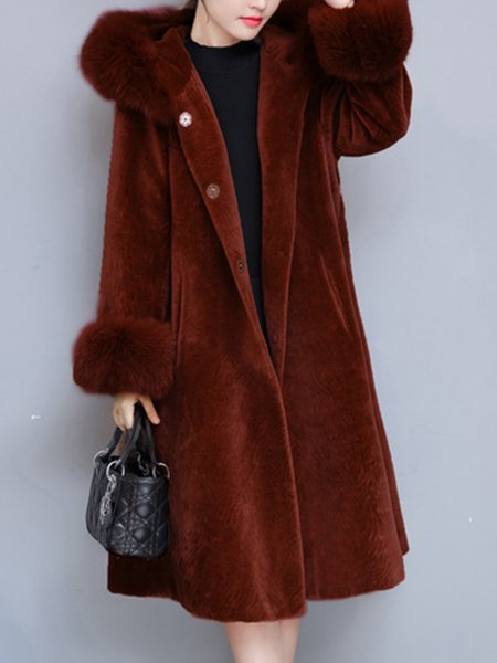 H-line Elegant Fluffy Long Sleeve Fur And Shearling Coat