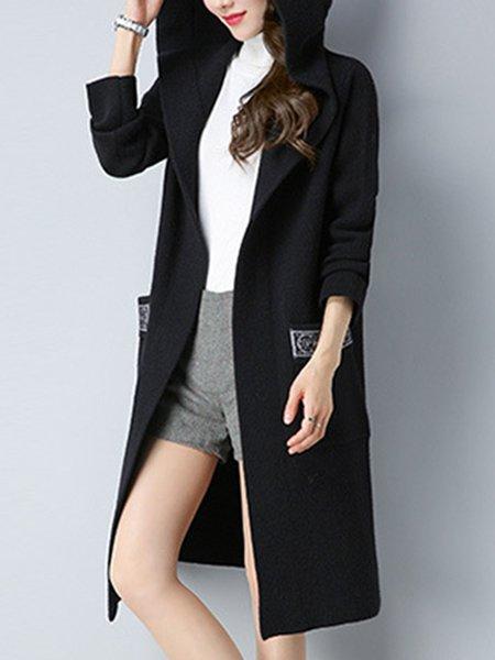 Black Knitted Hoodie H-line Casual Cardigan