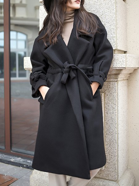 Solid Casual Gathered Long Sleeve Coat