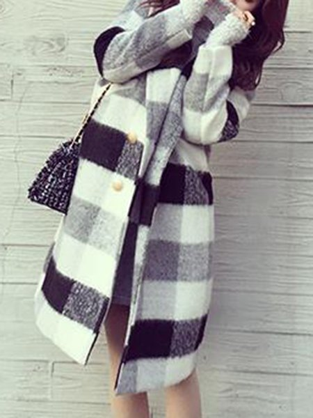 Gingham Long Sleeve H-line Casual Coat