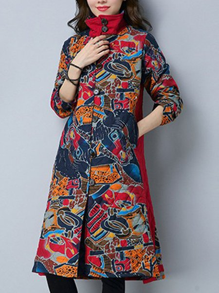 Linen Long Sleeve A-line Casual Printed Coat