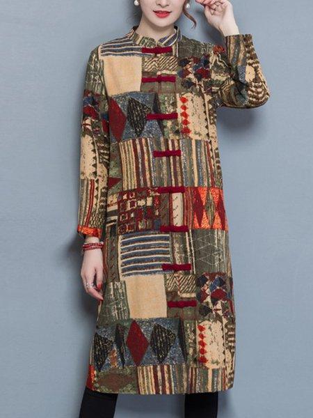 Geometric H-line Casual Cotton Long Sleeve Coat