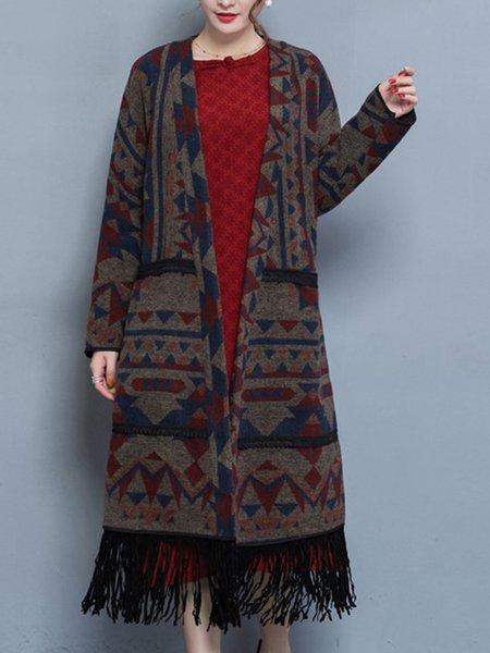 Brown Printed Long Sleeve Geometric A-line Coat