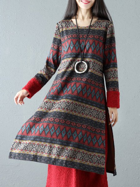Printed A-line Casual Long Sleeve Tribal Midi Dress