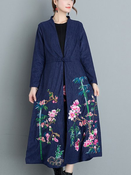 Embroidered Casual Long Sleeve Floral Coat