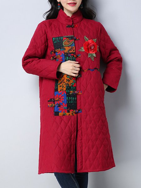 Long Sleeve Casual Cotton Floral Coat