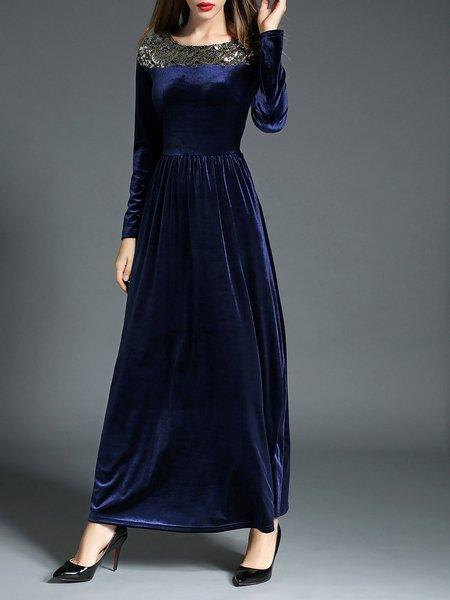 Dark Blue Velvet Long Sleeve Plain Embellished Maxi Dress