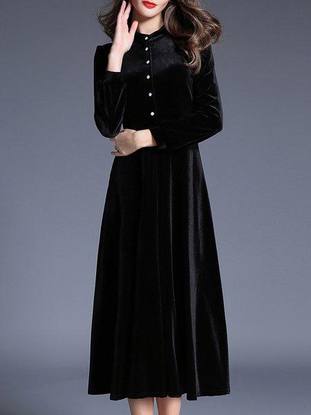 Black Solid Stand Collar Velvet Casual Midi Dress
