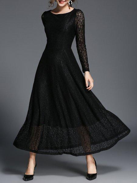 Black Crew Neck Long Sleeve Lace Midi Dress