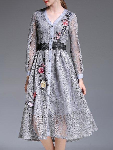Gray Casual A-line Plain Embroidered Midi Dress