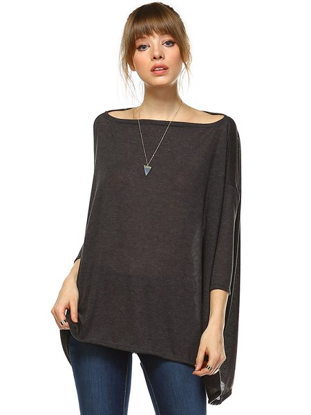 Gray Knitted Shift Plain Basic Two Ways Tunic