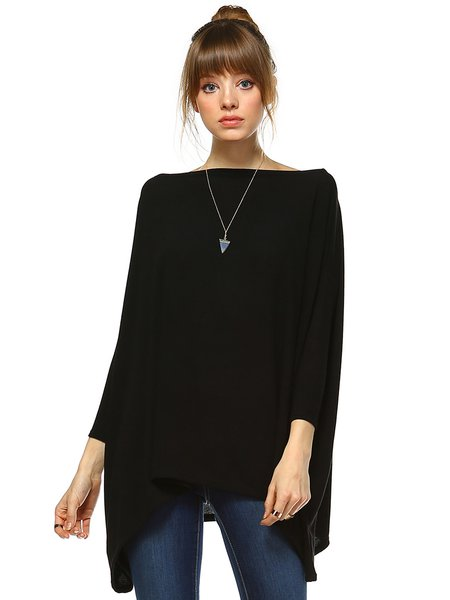 Black Shift Knitted Basic Plain Two Ways Tunic