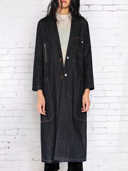 Dark Blue Denim H-line Simple Slit Coat