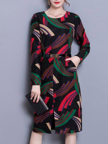 Black Crew Neck Geometric Long Sleeve Midi Dress