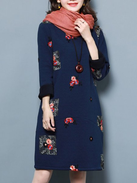 Plus Size Embroidered Crew Neck Casual Long Sleeve Floral Midi Dress