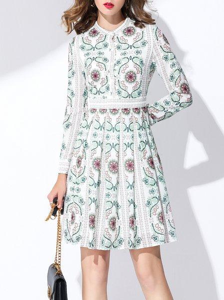 Light Green Elegant A-line Printed Boho Dress
