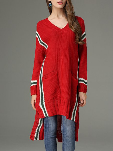Asymmetric Knitted Long Sleeve Casual Sweater