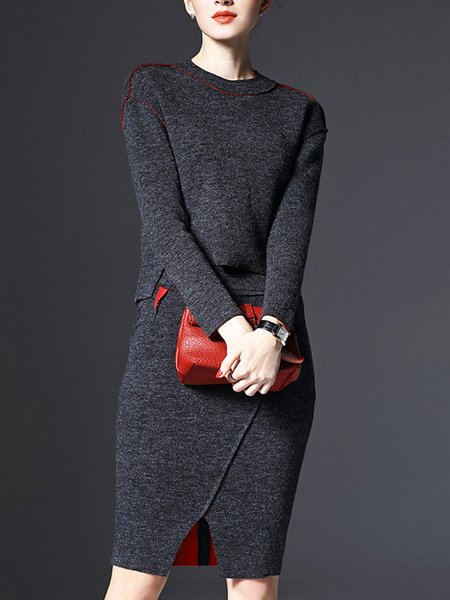 Plain Paneled Long Sleeve Casual Crew Neck Top With Skirt