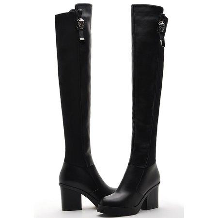 Black Leatherette Chunky Heel Zipper Boots